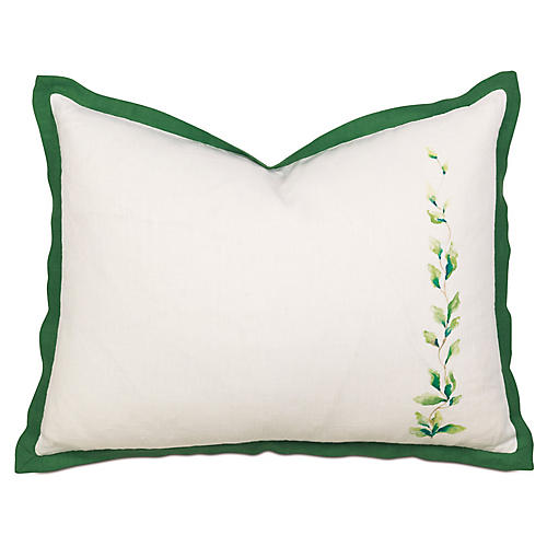 Tropical Dreams Tailored Right-Side Sham, White/Green