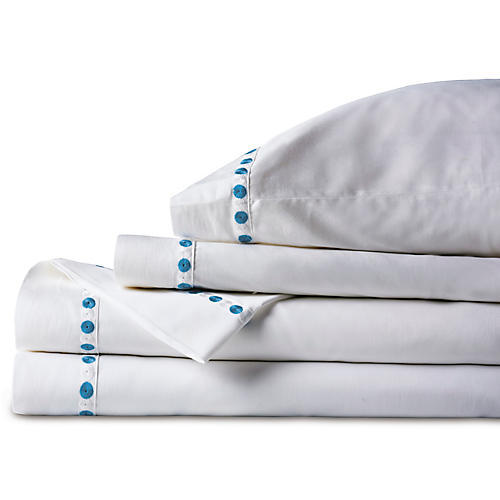 Tivoli Sheet Set, White/Blue