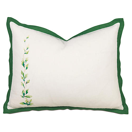Tropical Dreams Tailored Left-Side Sham, White/Green