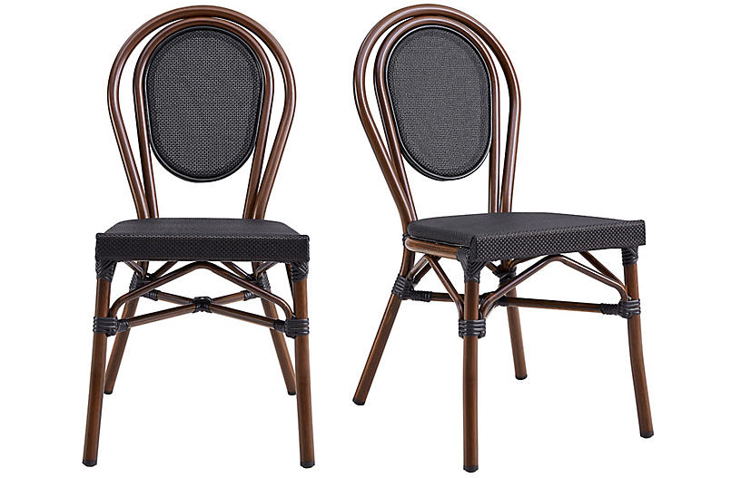 S/2 Joel Outdoor Side Chairs, Black/Brown