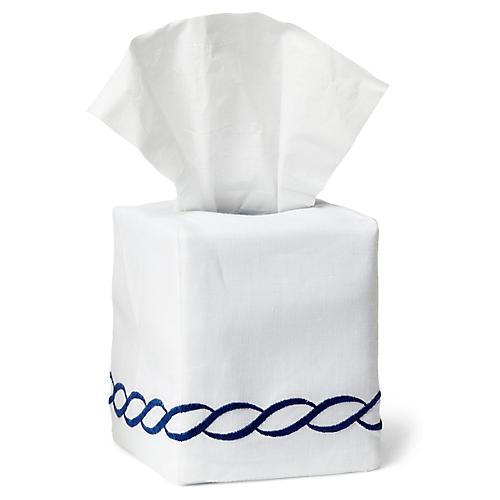 Venezia Tissue Box Cover, Navy