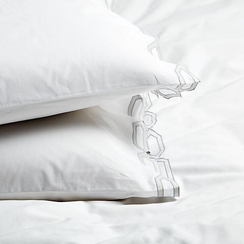 S/2 Maillon Standard Pillowcases, Silver