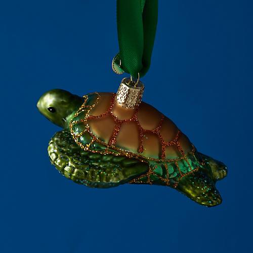 Sea Turtle Ornament, Green/Bronze