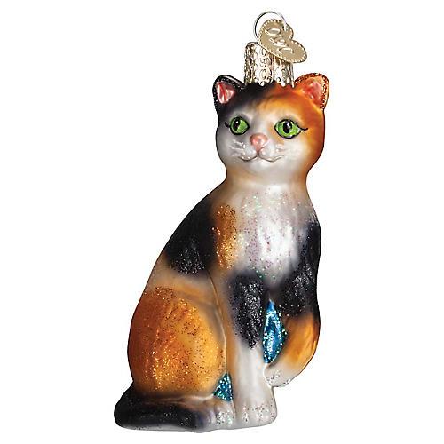 Calico Cat Ornament, Orange/Multi