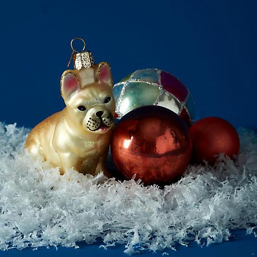 French Bulldog Ornament, Ivory/Multi