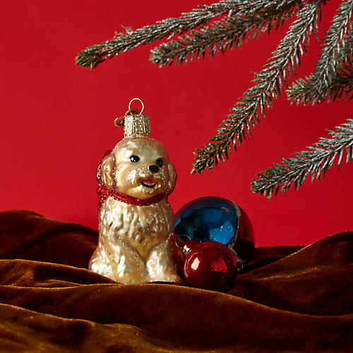 Cockapoo Puppy Ornament, Beige
