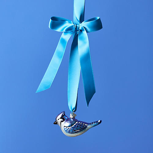 Blue Jay Ornament, Blue/Silver