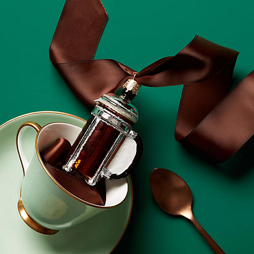 Coffee Press Ornament, Brown