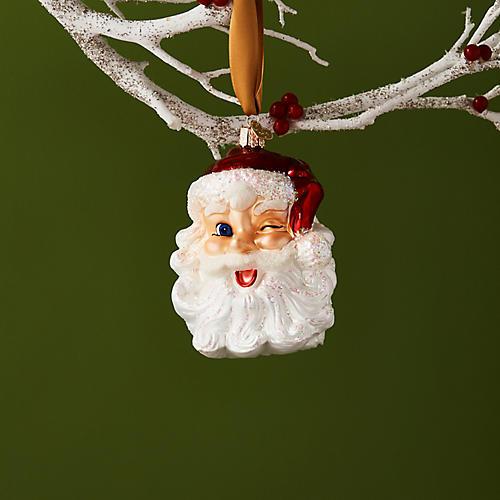 Winking Santa Ornament, Red/White