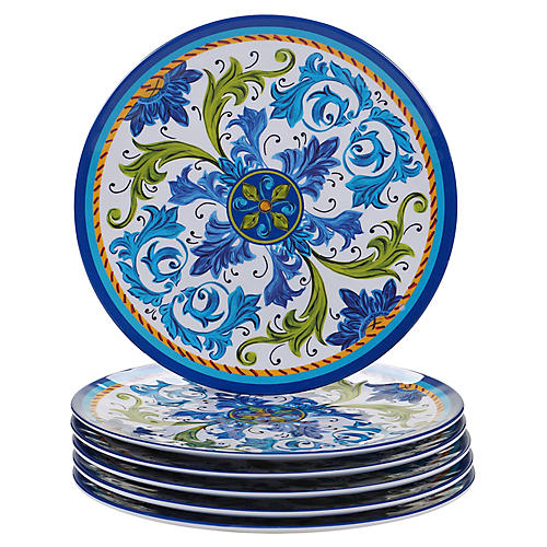 S/6 Luna Melamine Dinner Plates, Blue/Green