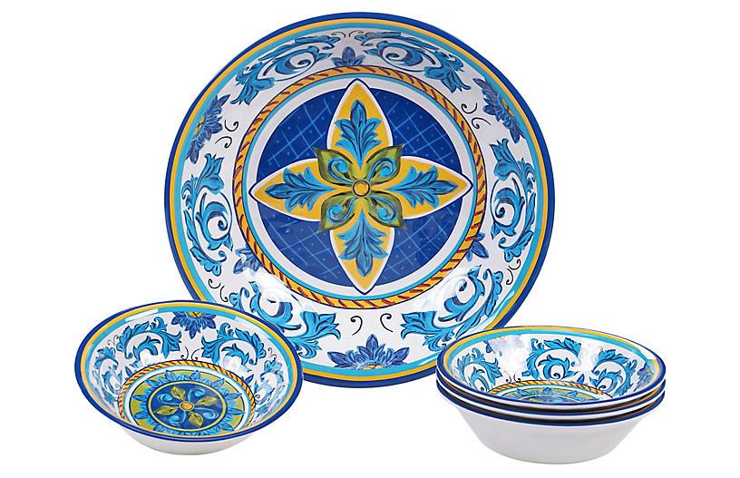 Asst. of 5 Luna Melamine Serving Bowls, Blue/Green