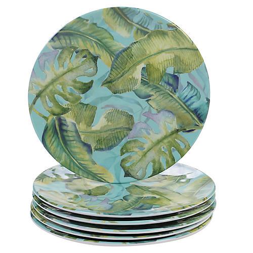S/6 Almeida Melamine Salad Plates, Blue/Green