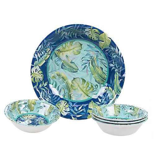 Asst. of 5 Almeida Melamine Serving Bowls, Blue
