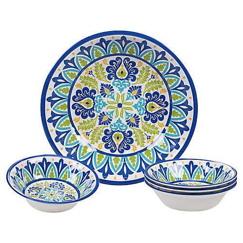 Asst. of 5 Palmer Melamine Serving Bowls, Blue