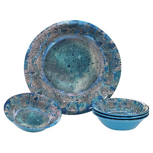 Asst. of 5 Morrison Melamine Salad Bowls, Teal
