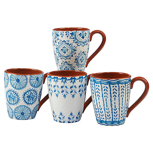 S/4 Positano Mugs, Blue/White