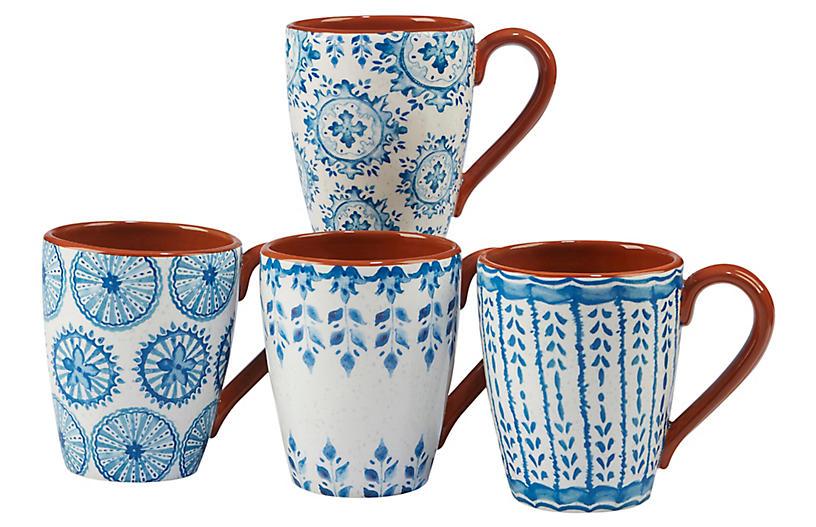 S/4 Positano Mugs, Blue/White