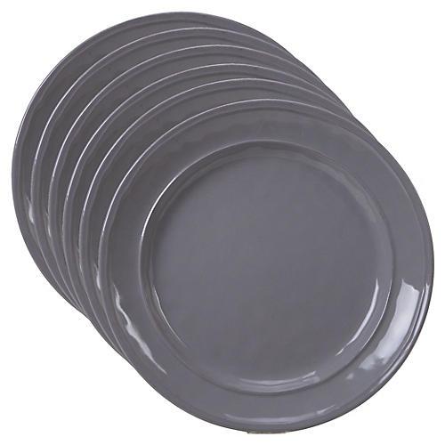S/6 Misha Salad Plates, Gray