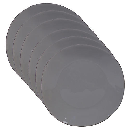S/6 Salerno Dinner Plates, Light Gray