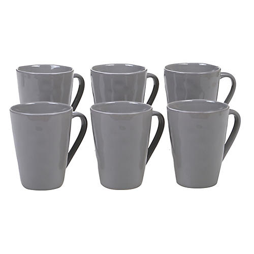 S/6 Salerno Mugs, Light Gray