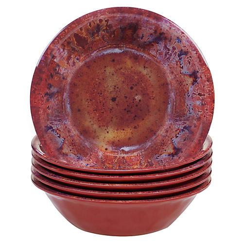 S/6 Morrison Melamine Bowls, Red