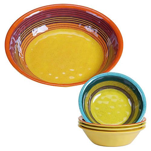 Asst. of 5 Jude Melamine Salad Bowls, Yellow/Multi