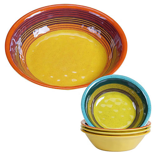 Asst. of 5 Jude Melamine Salad Bowls, Yellow/Multi