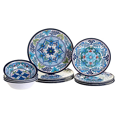 Asst. of 12 Raver Melamine Place Setting, Blue