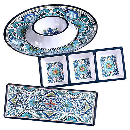 Asst. of 3 Raver Melamine Serveware Set, Blue
