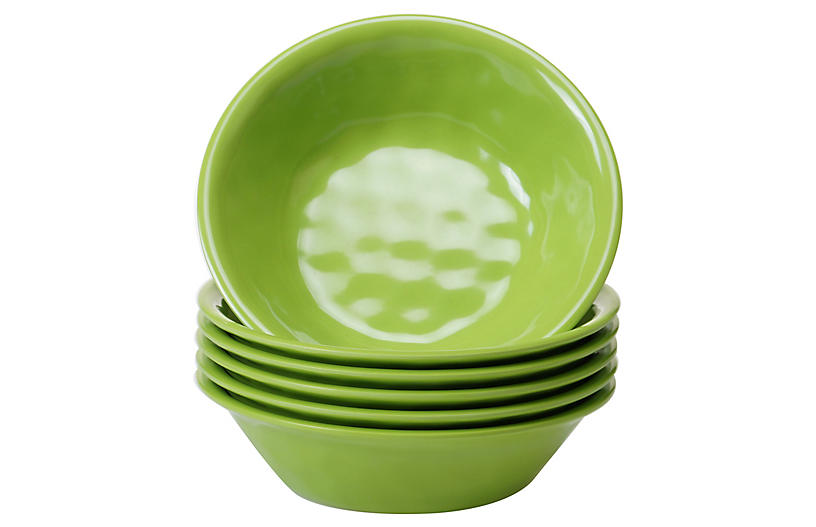S/6 Wayne Melamine Bowls, Green