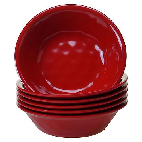 S/6 Wayne Melamine Bowls, Red
