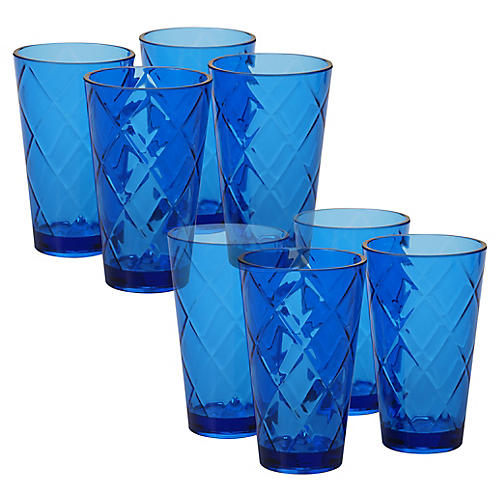 S/8 Drazen Acrylic Glass Set, Cobalt