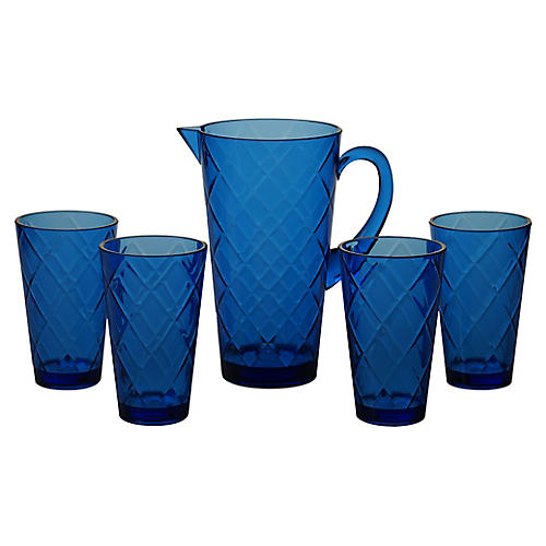 Asst. of 5 Drazen Acrylic Drinkware Set, Cobalt