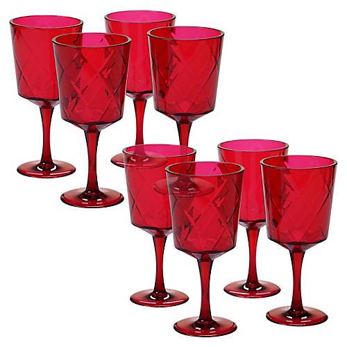 S/8 Drazen Acrylic Goblet Set, Ruby