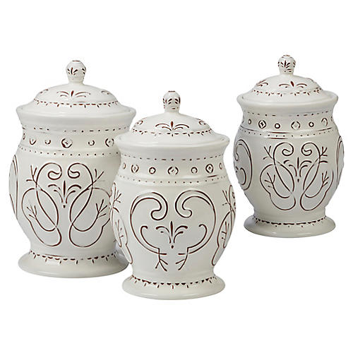 S/3 Ravello Canister Set, White