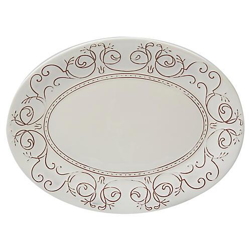 Ravello Oval Platter, White