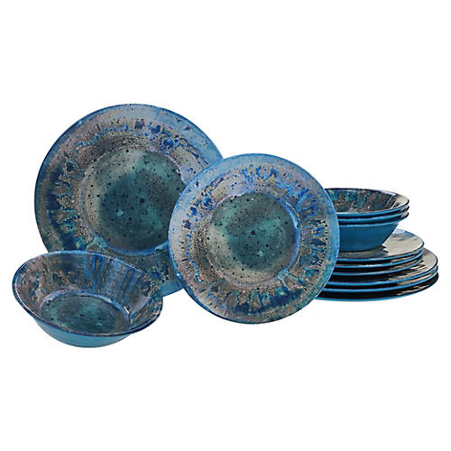 Asst. of 12 Morrison Melamine Place Setting, Teal
