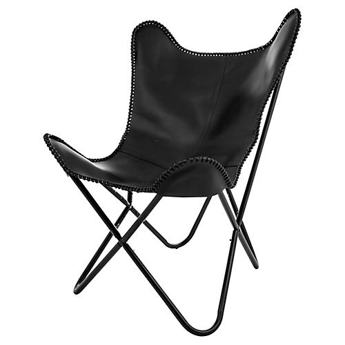 Amorica Butterfly Chair, Black Leather