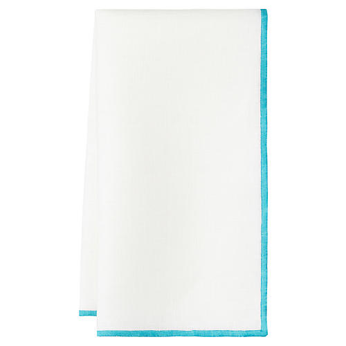S/4 Bel Air Dinner Napkins, White/Turquoise