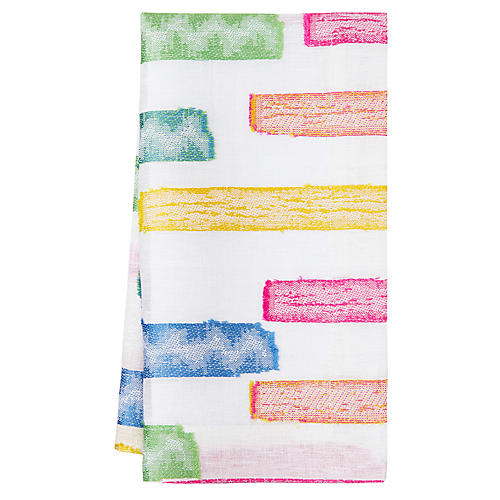 S/4 Fiesta Dinner Napkins, White/Multi