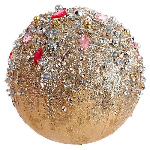 Gem Ball Ornament, Gold/Pink