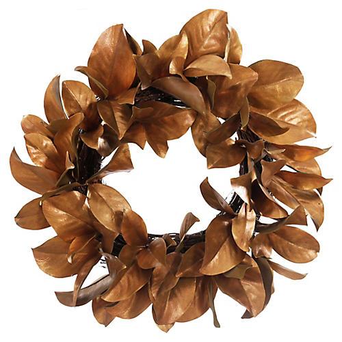 Golden Magnolia Wreath, Faux