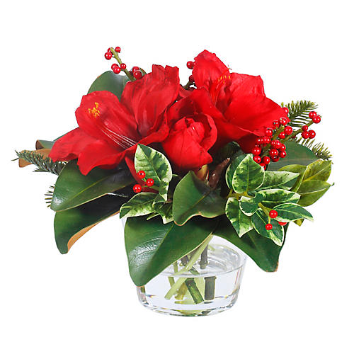 "12"" Holly & Amaryllis Mix w/ Round Vase, Faux"