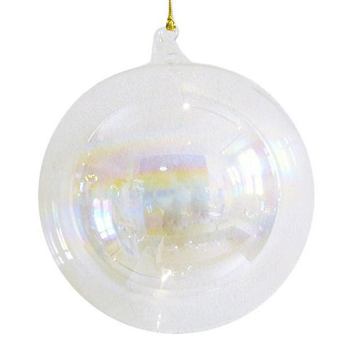 Feliz Grande Ball Ornament, Clear