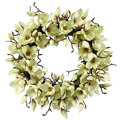 """24"""" Magnolia Wreath, Faux"""