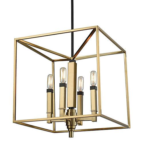 Bosley 4-Light Chandelier, Satin Brass/Bronze