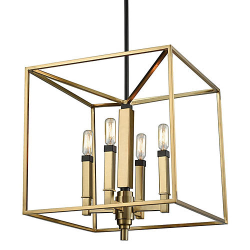 Bosley 4-Light Chandelier, Satin Brass/Bronze