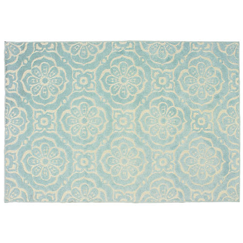 Preston Outdoor Rug, Blue/Ivory