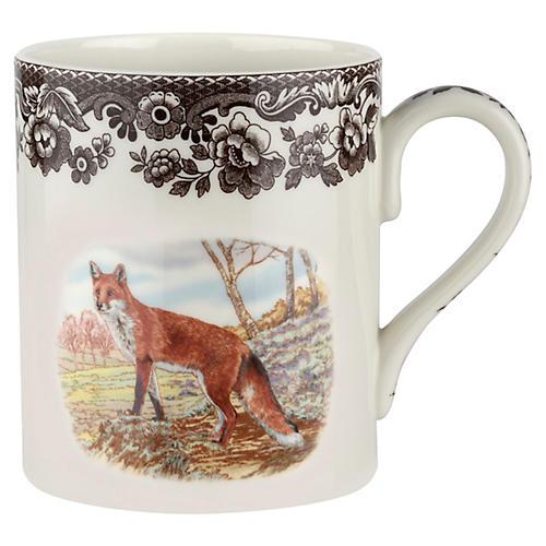 S/4 Fox Mugs, White/Brown