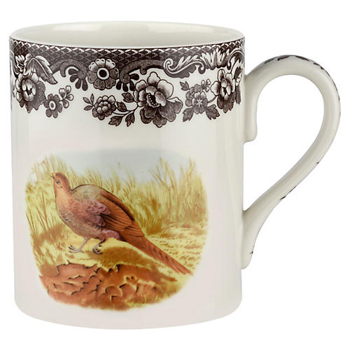 S/4 Pheasant Mugs, White/Brown